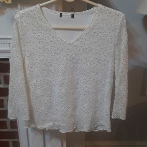 Cream beige floral sparkle holiday top